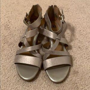 Super cute 1 inch silver shimmery heels! Size 9!